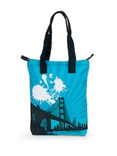 Blue And Black Printed Tote Bag - Greenobag