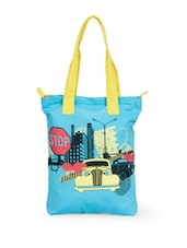 Stylish Sky Blue Canvas Tote Bag With Car Prints - Greenobag