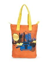 Stylish Orange Jute Tote Bag With Car Prints And Yellow Handles - Greenobag