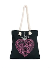 Amazing Black Canvas Tote With Lovely Heart Print - Greenobag