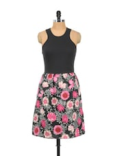 Black And Pink Floral Dress - Mishka