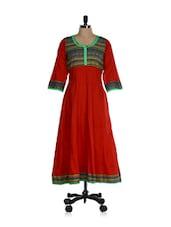 Red Printed Cotton Anarkali Kurti - Inara Robes
