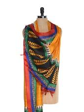 Yellow Printed Tussar Silk Dupatta - Inara Robes