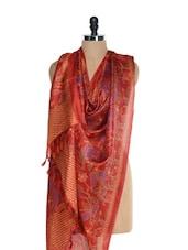 Red Kantha Work Printed Tussar Silk Dupatta - Inara Robes