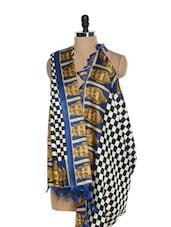 Buddha Print Checkered Tussar Silk Dupatta - Inara Robes - 861042