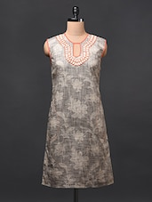Printed Sleeveless Linen Dress - RENA LOVE