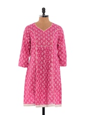 Pink And White Printed Kurta - Dora Bella