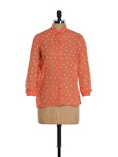 Coral Orange And White Polka Shirt - Purys