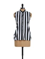 Striped Black & White Top - Purys