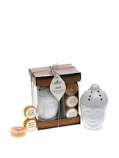 Small Ceramic Buddha(diffuser) With 2 Wax Tart And An Acrylic Tea Light - Fragrance World India