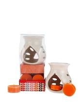 Ceramic Aroma Lamp With Scented Candle Set - Fragrance World India