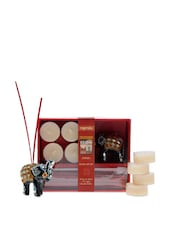 Incense Gift Set With 4 Tea Lights , One Elephant Holder - Fragrance World India