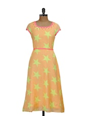 Star Print Orange Dress - Shakumbhari