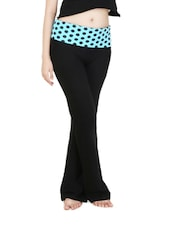 Black Cotton Yoga Pants With Polka-dotted Waist - By