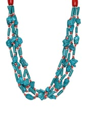 Blue And Red Ceramic Beads Multi Layer Necklace - Art Mannia
