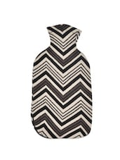 Black And Grey Chevron Weave Pattern Cotton Knit Hot Water Bottle Cover - Pluchi