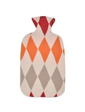 Multi-coloured Diamond Weave Pattern Cotton Knit Hot Water Bottle Cover - Pluchi