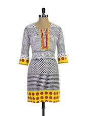 Trendy Black And White Printed Cotton Kurta - Purab Paschim