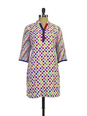 Colourful Polka Dotted Kurta With Striped Sleeves - Purab Paschim