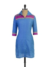 Fantastic Blue Printed Cotton Kurta With Collar - Purab Paschim