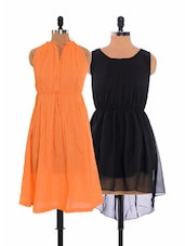 Combo Of Orange Dress  And  Black Asymmetrical Dress - Xniva