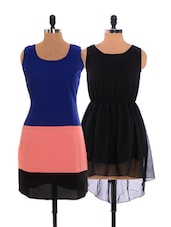 Combo Of Black Dress  And  Tri-coloured Dress - Xniva