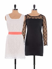 Combo Of Little Black Dress And White Lacey Dress - Xniva