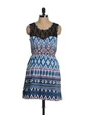 Blue And White Chevron Print Summer Dress - Feyona