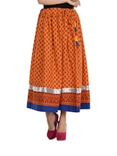 Orange Printed Maxi Skirt - Free Living