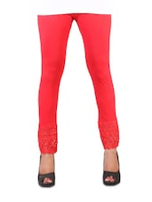 Stretchable Red Lace Trim Leggings - Vivomo