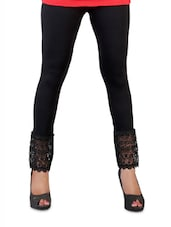 Stretchable Black Lace Trim Leggings - Vivomo
