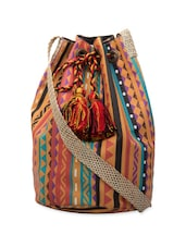 Multi-coloured Aztec Print Cross Body Bag - The House Of Tara