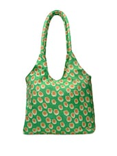 Green Tote With Floral Prints - Art Forte