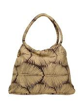 Brown Tote Bag With Leaf Prints - Art Forte