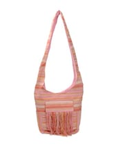Multi-coloured Hobo Bag With Front Fringes - Art Forte