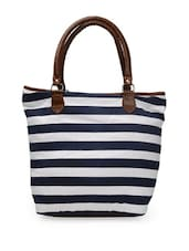 Black And White Striped Tote With Brown Handles - Art Forte