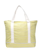 Stylish Yellow And White Striped Tote - Art Forte