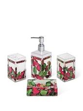 Acrylic Pink & Green Petals Bathroom Set Of 4 Pieces - Freelance