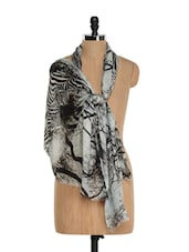 Black And White Zebra Print Scarf - Toscee