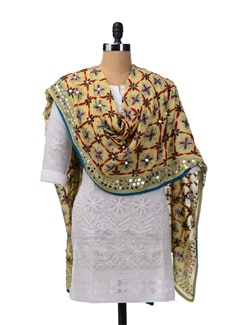 Light Yellow Phulkari Dupatta - Vayana