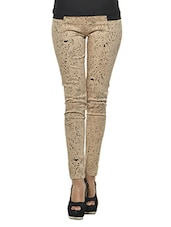 Printed Beige Cotton Satin Jeggings - Ursense