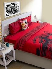 Red Bike Print Bed Cover - HOUSE THIS