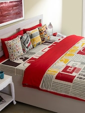 Red Abstract Print Bed Cover - HOUSE THIS