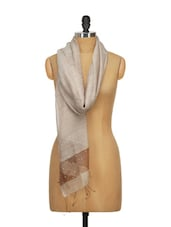 Hand Woven Glossy Silk Scarf With Crystals. - WELKIN