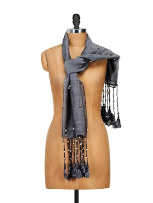 Elegant Grey Silk Stole with Synthetic Pearls Embellishment