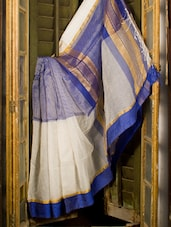 Blue And White Resham Saree - Cotton Koleksi