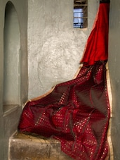 Red Matka Silk Saree - Cotton Koleksi