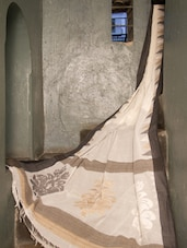 White Pakwan Cotton Saree - Cotton Koleksi