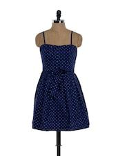 Navy Blue Star Print Strappy Dress - Ozel Studio