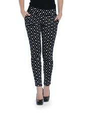 Black Cotton Jeggings With White Star Prints - By